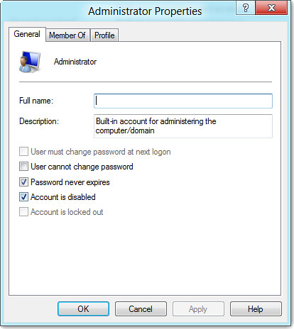 enable windows 8 admin password