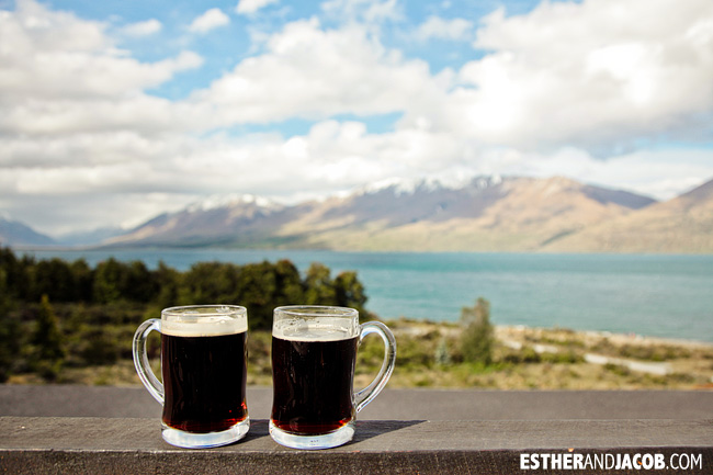 Enjoying beers at Lake Ohau Lodge | Day 2 New Zealand Contiki Tour | From Christchurch to Lake Ohau | A Guide to South Island
