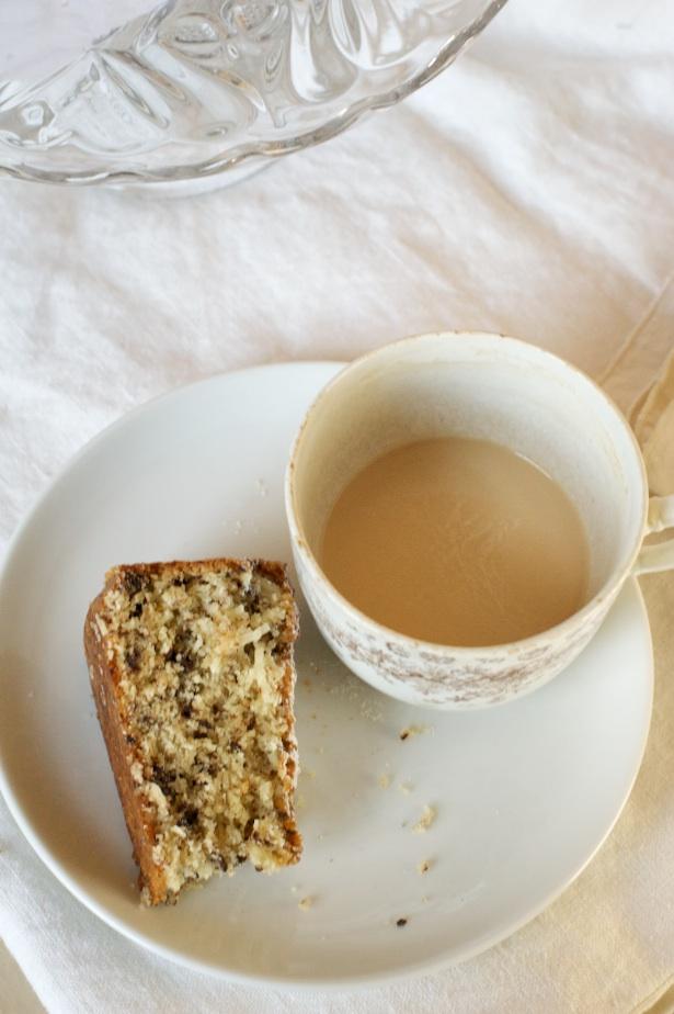 coconut cake and tea