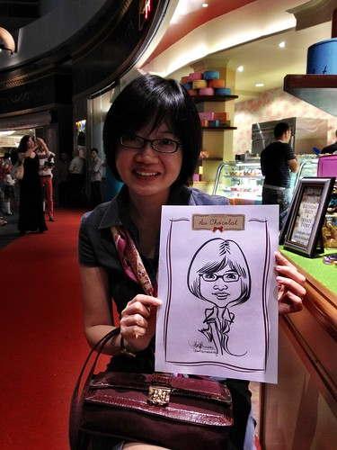 caricature live sketching for Au Chocolat Opening - 9