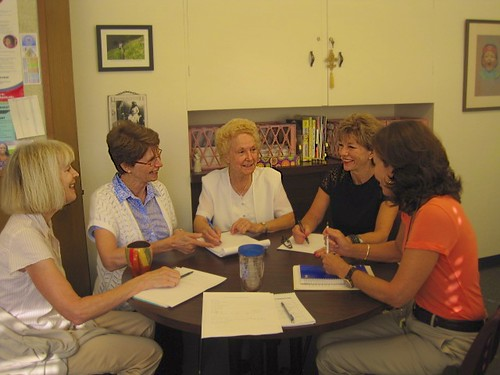 Sisters Margaret Fitzer (second left) and Maria Goretti Crowley (centre) pictured at a Department Meeting in Louisville High School
