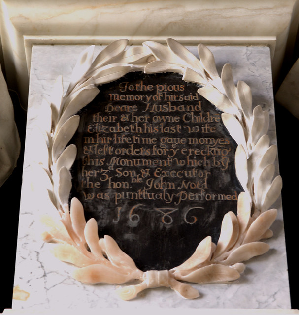 Exton, Rutland, Church of St. Peter and St. Paul, monument to Baptist Noel, 3rd viscount Campden, †1683 October 9, detail