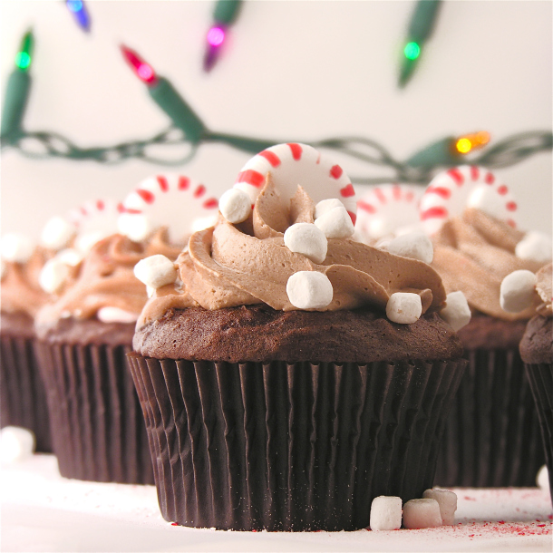 ... The Cake: Peppermint hot chocolate cupcakes made using hot cocoa mix