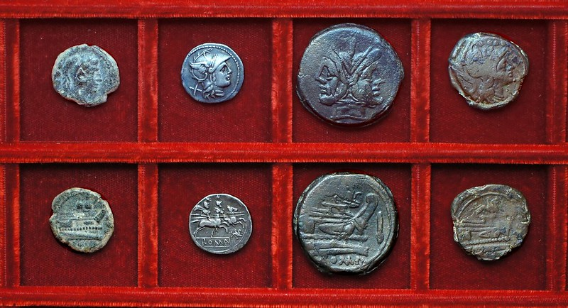 RRC 182 gryphon denarius and bronzes, RRC 181 caps of dioscuri quadrans, Ahala collection, coins of the Roman Republic
