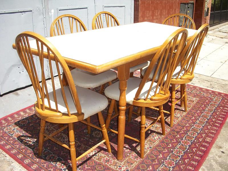 Comedor estilo windsor americano mesa y 6 sillas cocina for Comedor americano