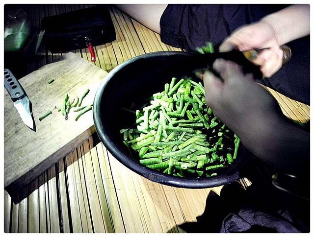 memotong kacang panjang