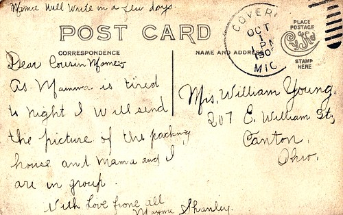 1909 Message side of packing house card.