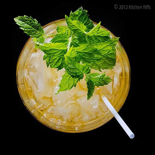 Stinger Cocktail in Rock Glass with Mint Garnish, Overhead View