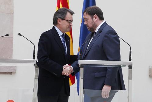 Artur Mas, de CiU y Oriol Junqueras de ERC