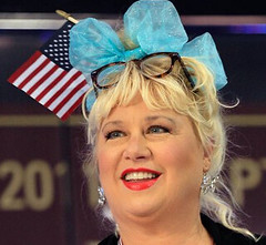 Victoria Jackson with a bow on her head