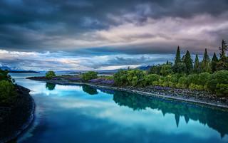 Evening on the blue Lake Tekapo