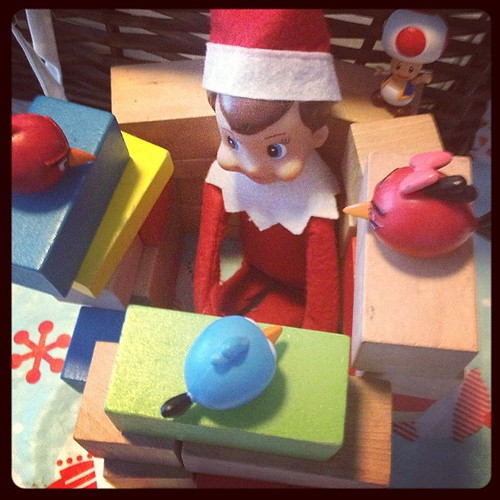 Snowball built a fort! #elfontheshelf