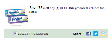 $0.75/1 Desitin Product Excludes Trial Sizes Coupon