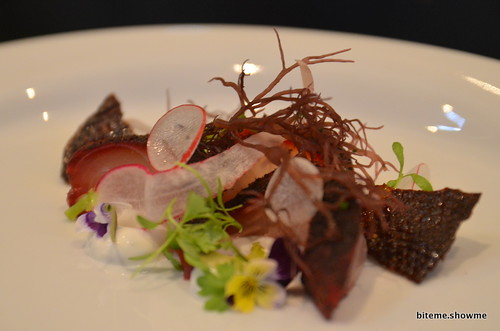 Sepia - kampachi yellowtail, yukari, sheep yoghurt, tonburi, celery, baby radish pickled, spiced duck skin