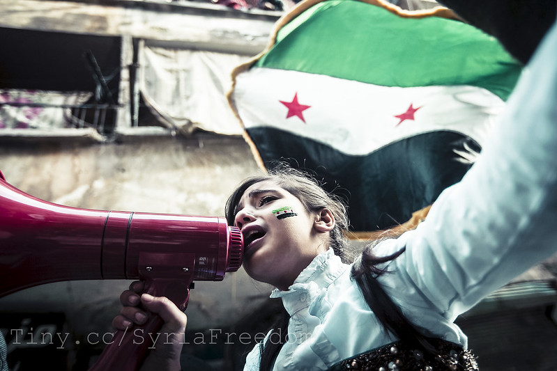 Children chanting Syrian freedom songs. Aleppo.