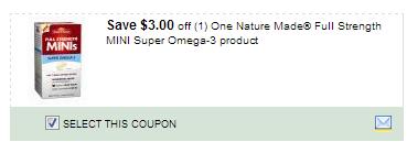 $3.00/1 Nature Made Full Strength Mini Super Omega-3 Product Coupon