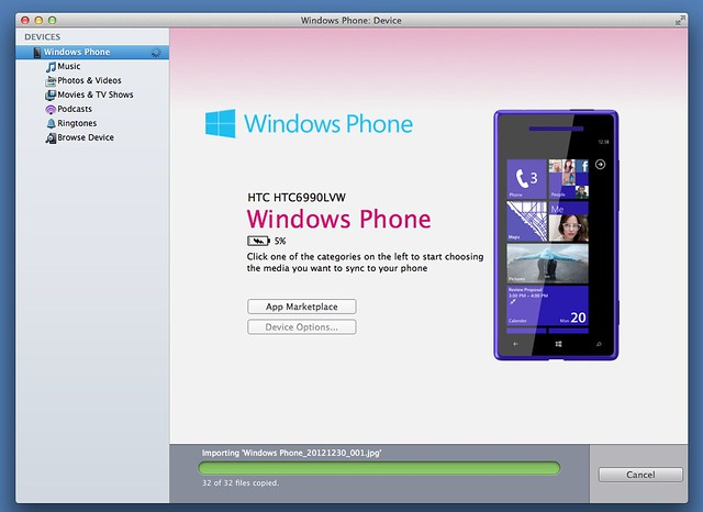 Importing Windows Phone for Mac