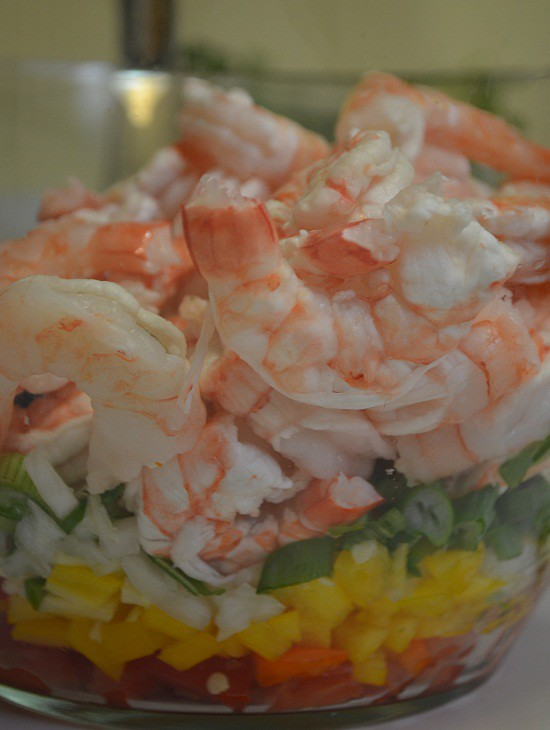 shrimp bowl with ingredients