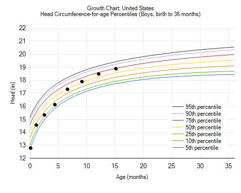 head size chart 15 months