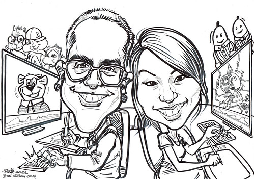 Animator couple caricatures