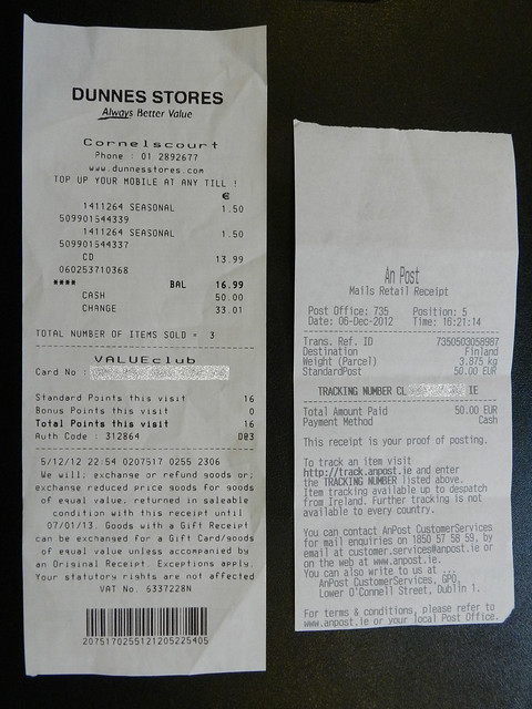 Dunnes Stores & An Post receipts