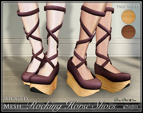 Rocking Horse Shoes from Wishbox in Second Life (Plum)