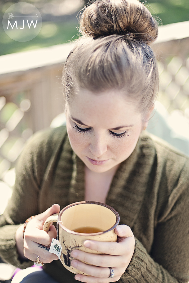 sweater, tea and bun.