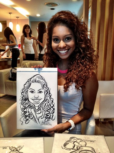 caricature live sketching for Orchard Scotts Dental for Miss Universe Singapore - 3
