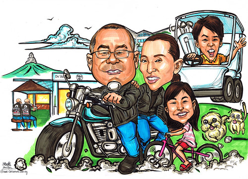 Family caricatures in Phuket Da Vinci bar