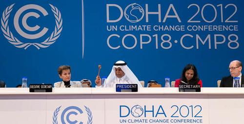 對抗全球暖化的「京都議定書」終於在杜哈會議敲定,(照片取自cop18官方網站)