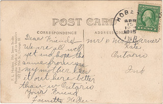 Reverse of Hobart High School postcard