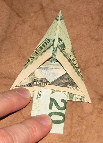 origami Money Christmas Tree 014