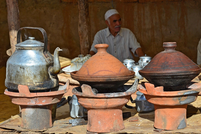 Tea and tagine on the market in Aghmat