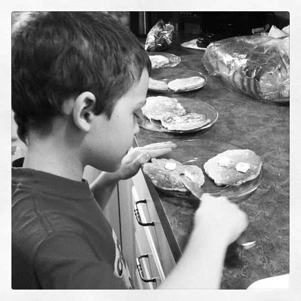 One if my favorite 7 year olds making lunch for his siblings