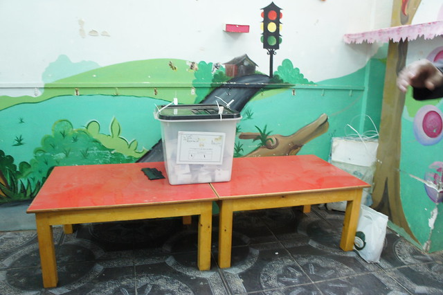 A ballot box at a polling station in Egypt's Giza