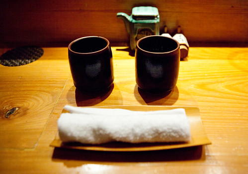 Finishing off with cups of hot hojicha tea and a hot hand towel