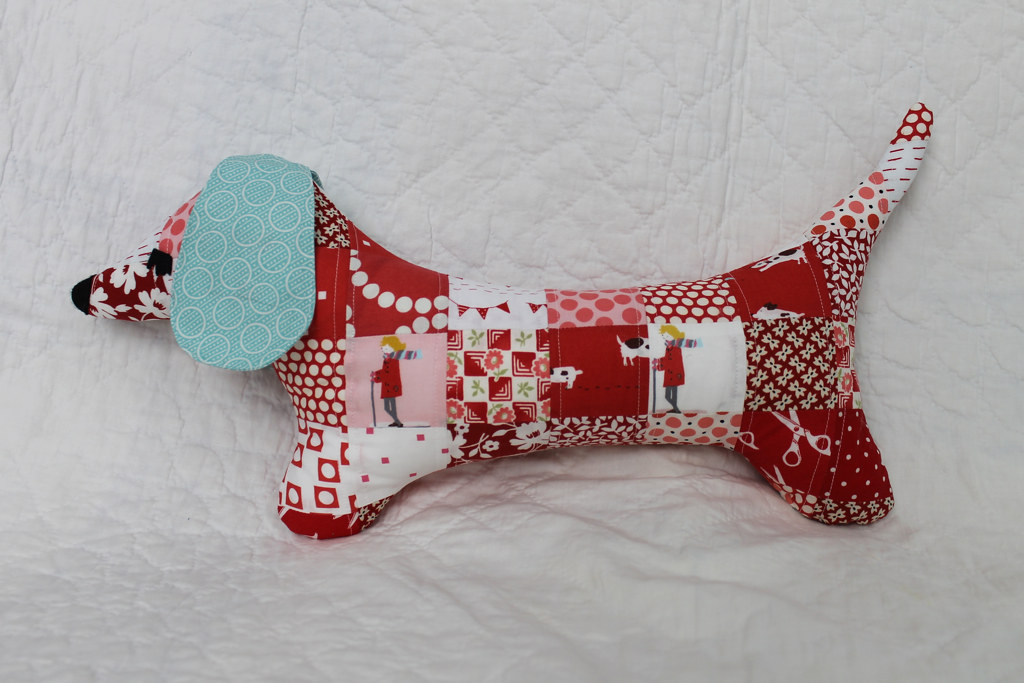 Red patchwork Doxie