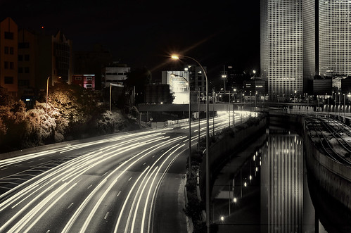 city bw reflection night 50mm prime nikon highway almostbw lighttrails d5100 nikon50mm18g nikond5100