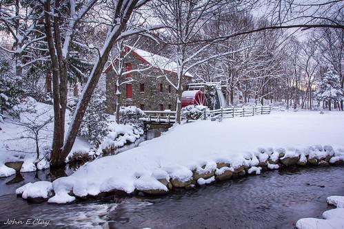 winter snow sunrise ma massachusetts newengland sudbury waysideinngristmill jclay