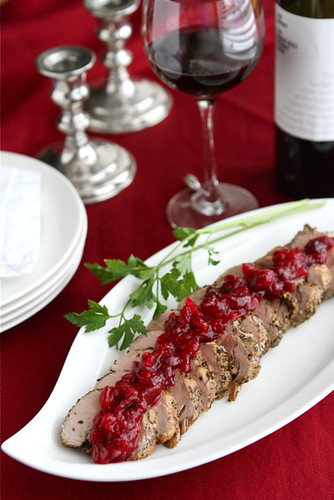 Roasted Pork Tenderloin with Cranberry Orange Relish by Cookin' Canuck