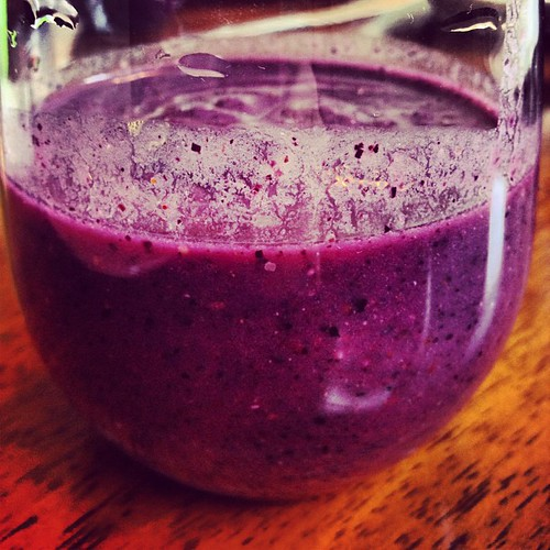 Smoothie made from blackberries, raspberries, blueberries, almond milk, chia seeds, and stevia