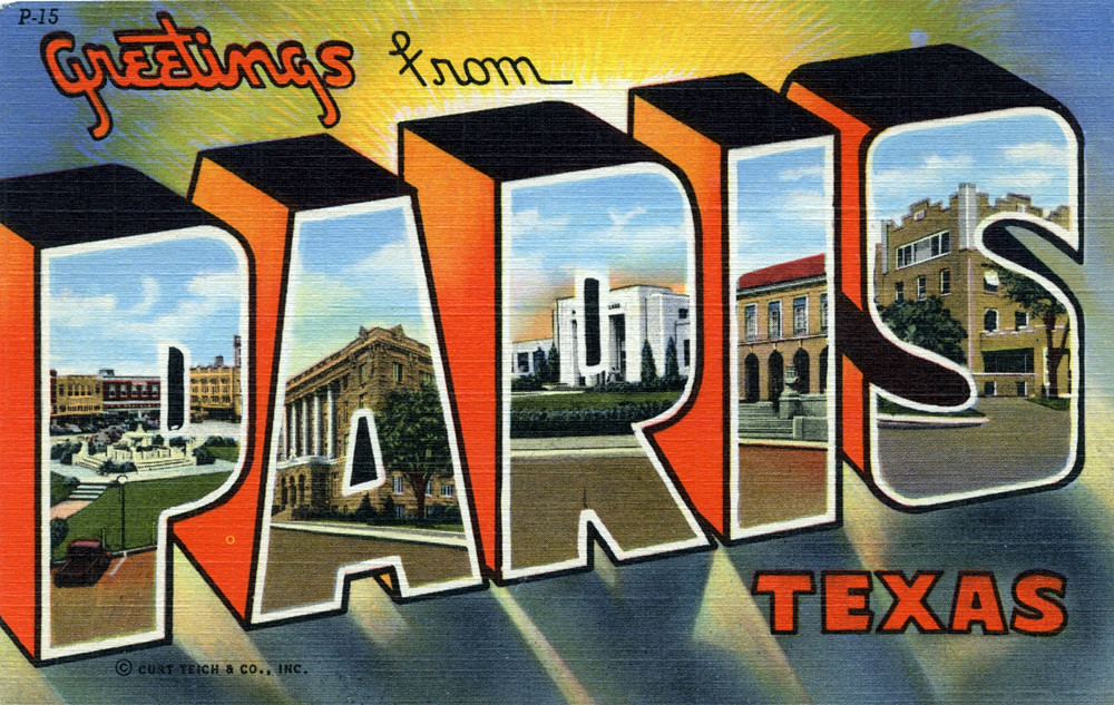 Greetings from paris texas large letter postcard a photo on greetings from paris texas large letter postcard m4hsunfo