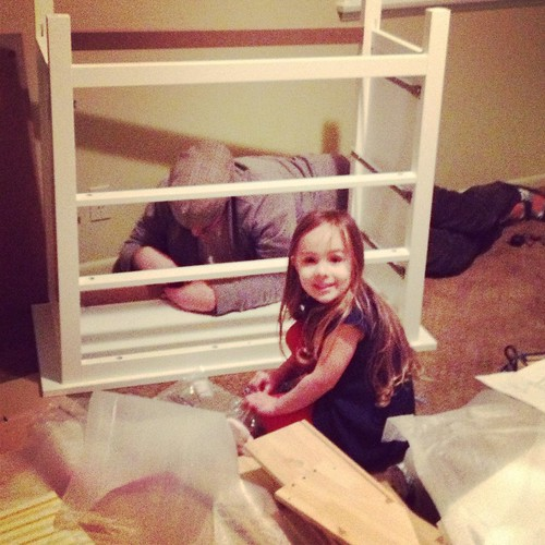Assembling the dresser/changing table