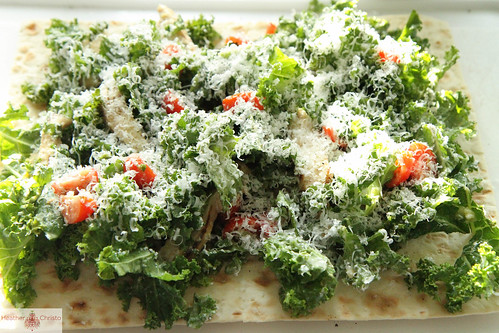 Kale Cesar Salad with Grilled Chicken Wrap