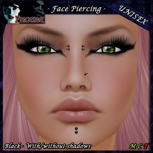 $10l ~ *P* Unisex Face Piercing Q2 ~Black~