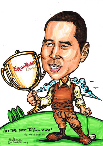 golfer caricature with trophy for ExxonMobil Chemical
