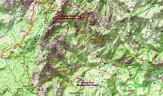 Carte IGN du Haut-Cavu avec les anciens chemins reportés depuis le Plan Terrier et le Cadastre Napoléon
