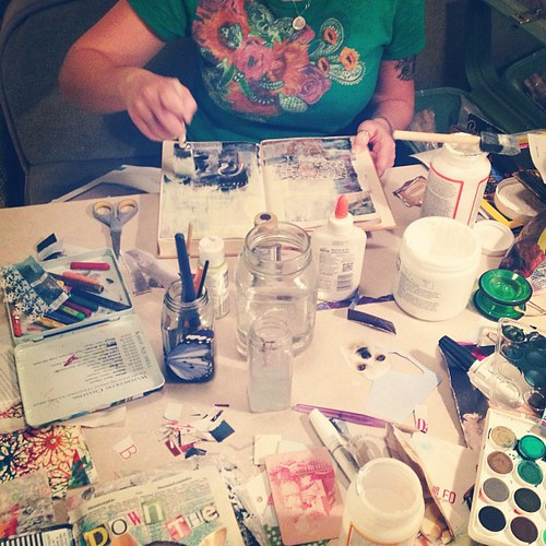 Messy is a part of every beautiful process. #artjournal @heathermattern