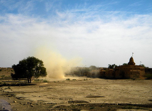dust storm seen from Jaisalmer garden