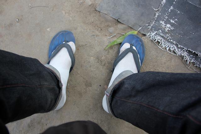 Communal waiting sandals